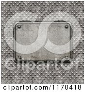 Clipart Of A 3d Grungy Stone Plaque On Riveted Metal Royalty Free CGI Illustration