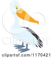 Cartoon Of A Cute Pelican Bird Royalty Free Vector Clipart by Alex Bannykh