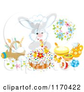 Cartoon Of A Chef Bunny Decorating An Easter Cake Royalty Free Vector Clipart