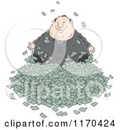 Cartoon Of A Fat Wealthy Businessman In A Pile Of Cash Royalty Free Vector Clipart