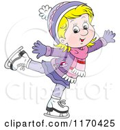 Cartoon Of A Happy Blond Girl Ice Skating Royalty Free Vector Clipart