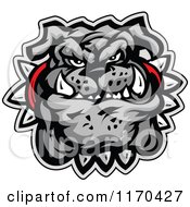 Cartoon Of A Tough Gray Bulldog Face With A Spiked Collar Royalty Free Vector Clipart