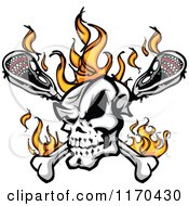Cartoon Of A Flaming Lacrosse Skull Over Sticks Royalty Free Vector Clipart by Chromaco