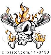 Flaming Lacrosse Skull Over Sticks