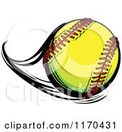 Cartoon Of A Flast Flying Softball Royalty Free Vector Clipart