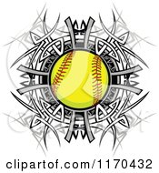 Cartoon Of A Softball Over A Tribal Circle Royalty Free Vector Clipart