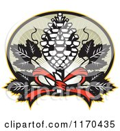 Clipart Of A Thyrsus Pine Cone Staff With Grape Leaves Over Green Rays Royalty Free Vector Illustration