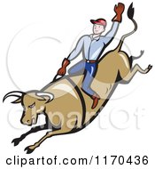 Clipart Of A Cowboy Riding A Rodeo Bull With One Arm In The Air Royalty Free Vector Illustration