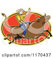 Clipart Of A Cartoon Rodeo Cowboy On A Bull Over A Red Oval Royalty Free Vector Illustration