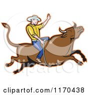 Clipart Of A Cartoon Rodeo Cowboy On A Bull Royalty Free Vector Illustration by patrimonio