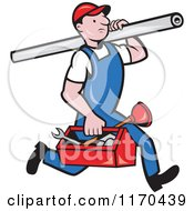 Clipart Of A Cartoon Plumber Worker Running With A Pipe And Tool Box Royalty Free Vector Illustration