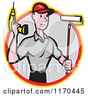 Clipart Of A Cartoon Handyman Worker With A Drill And Paint Roller Brush In A Gray Circle Royalty Free Vector Illustration