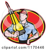 Clipart Of A Cartoon Construction Worker Man Holding A Jackhammer In A Red Oval Royalty Free Vector Illustration by patrimonio