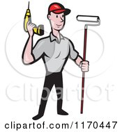Clipart Of A Cartoon Handyman Worker With A Drill And Paint Roller Brush Royalty Free Vector Illustration