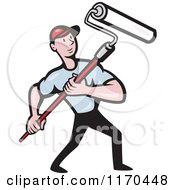 Clipart Of A Cartoon Painter Man Using A Roller Brush Royalty Free Vector Illustration
