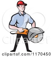 Clipart Of A Cartoon Worker Man Holding A Concrete Saw Royalty Free Vector Illustration
