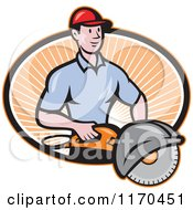 Clipart Of A Cartoon Worker Man Holding A Concrete Saw Over An Oval Of Rays Royalty Free Vector Illustration