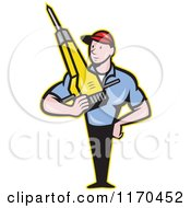 Clipart Of A Cartoon Construction Worker Man Holding A Jackhammer Royalty Free Vector Illustration by patrimonio