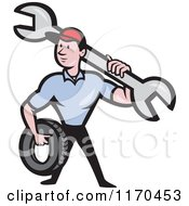 Clipart Of A Cartoon Mechanic Worker Holding A Tire And Spanner Wrench Royalty Free Vector Illustration by patrimonio