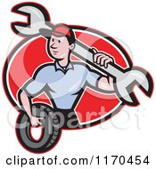 Clipart Of A Cartoon Mechanic Worker Holding A Tire And Spanner Wrench Over A Red Oval Royalty Free Vector Illustration