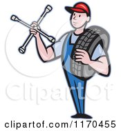 Clipart Of A Cartoon Mechanic Worker Holding A Tire And Socket Wrench Royalty Free Vector Illustration by patrimonio