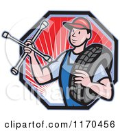 Clipart Of A Cartoon Mechanic Worker Holding A Tire And Socket Wrench Over A Hexagon With Rays Royalty Free Vector Illustration by patrimonio