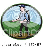Clipart Of A Pest Exterminator Worker Spraying Chemicals Royalty Free Vector Illustration