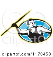 Clipart Of A Retro Track And Field Javelin Thrower Over A Blue Oval Royalty Free Vector Illustration