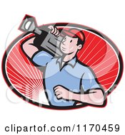 Clipart Of A Cartoon Movie Camera Man Filming Over An Oval Of Red Rays Royalty Free Vector Illustration