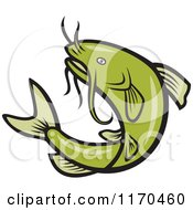 Clipart Of A Jumping Green Catfish Royalty Free Vector Illustration
