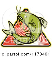 Clipart Of A Jumping Green Catfish Over A Triangle Of Red Rays Royalty Free Vector Illustration