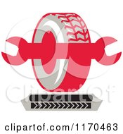 Clipart Of A Tire And Spanner Wrench With Tread Marks Royalty Free Vector Illustration by patrimonio