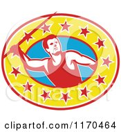 Clipart Of A Retro Track And Field Javelin Thrower Over A Star Oval Royalty Free Vector Illustration