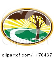 Clipart Of A Pecan Tree And River Against A Sunrise Royalty Free Vector Illustration by patrimonio