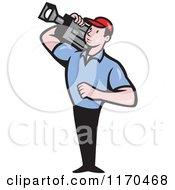 Clipart Of A Cartoon Movie Camera Man Filming Royalty Free Vector Illustration