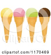 Clipart Of Vanilla Strawberry Pistachio And Chocolate Ice Cream Cones Royalty Free Vector Illustration by elaineitalia