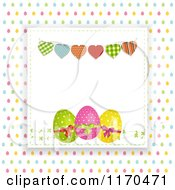 Heart Bunting Over Easter Eggs Raised Over Colorful Egg Dots