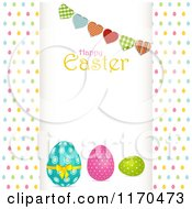Heart Bunting And Happy Easter Text Over Eggs Raised Over Colorful Egg Dots
