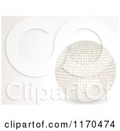 Clipart Of A 3d White Discou Ball On A Shaded Background With Copyspace Royalty Free Vector Illustration