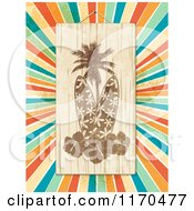 Clipart Of A Wooden Surfboard Palm Tree And Hibiscus Sign Over Colorful Grungy Rays Royalty Free Vector Illustration