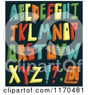 Cartoon Of Colorful 3d Alphabet Letters On A Dark Background Royalty Free Vector Clipart