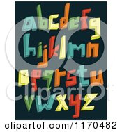 Cartoon Of Colorful 3d Lowercase Alphabet Letters On A Dark Background Royalty Free Vector Clipart