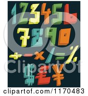 Cartoon Of Colorful 3d Numbers And Symbols On A Dark Background Royalty Free Vector Clipart