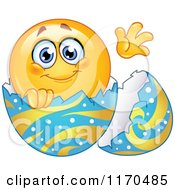 Cartoon Of A Waving Emoticon Smiley In An Easter Egg Royalty Free Vector Clipart