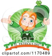 Cartoon Of A Cheerful Leprechaun And Rays Over An Irish Happy St Patricks Day Banner Royalty Free Vector Clipart
