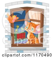 Cartoon Of A Cute Ginger House Kitten Watching A Bird From A Window Royalty Free Vector Clipart