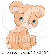 Cartoon Of A Cute Sittin Teddy Bear Looking Back Over His Shoulder Royalty Free Vector Clipart