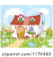 Cartoon Of A Cute Gnome Cottage In A Garden Royalty Free Vector Clipart by Pushkin
