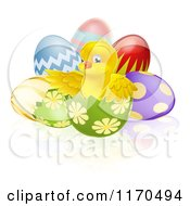 Cartoon Of A Cute Chick In A Cracked Easter Egg Royalty Free Vector Clipart by AtStockIllustration