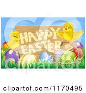 Cartoon Of A Wooden Happy Easter Sign With Chicks And Easter Eggs Against Blue Sky Royalty Free Vector Clipart